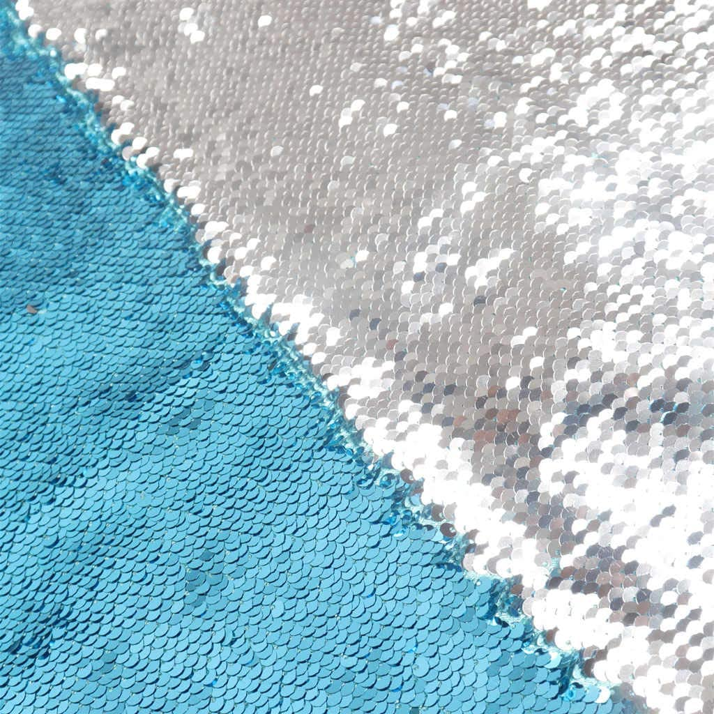 DUOBAO Turquoise to Silver Sequin Fabric by The Yard Mermaid Fabric Two Color Change Sequin Fabric Aqua Reversible Sequin Fabric
