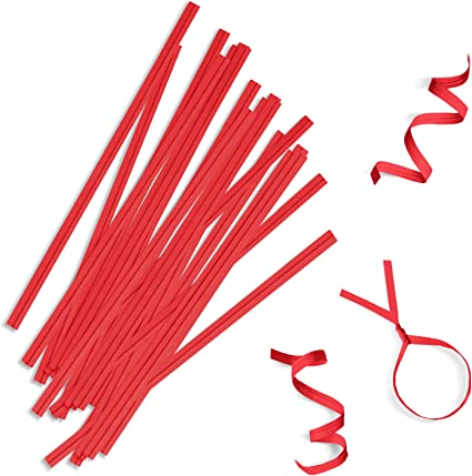 2000 5 INCH RED PLASTIC WRAPPED TWIST TIES