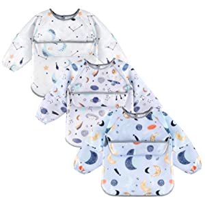 YOOFOSS Long Sleeve Bib for Babies 3-Pack Waterproof Bibs with Food Catcher Pocket for Feeding | Painting | Playing for Boys & Girls, Washable, Easy Clean, 6-24 Months