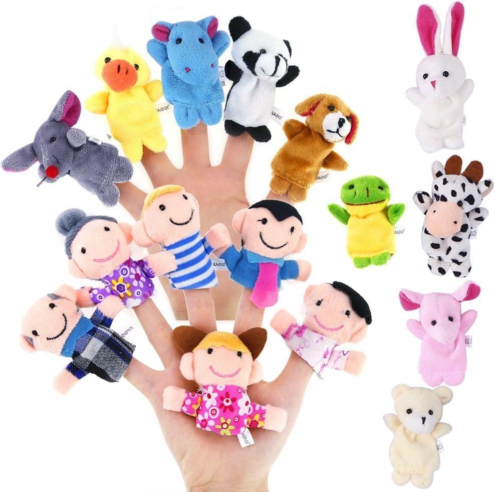 babyGreen Marionetas de Dedo 16pcs Tiempo de Cuentos,Incluye 10 Piezas de Animales y 6 Piezas de Personas, Miembros de la Familia, Juguetes educativos, niños