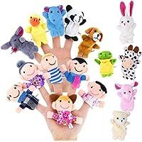 Geefia - Tazas de Dedo para niños, 16 Unidades, diseño de Marionetas de Mano, Animales y pétalos para bebés