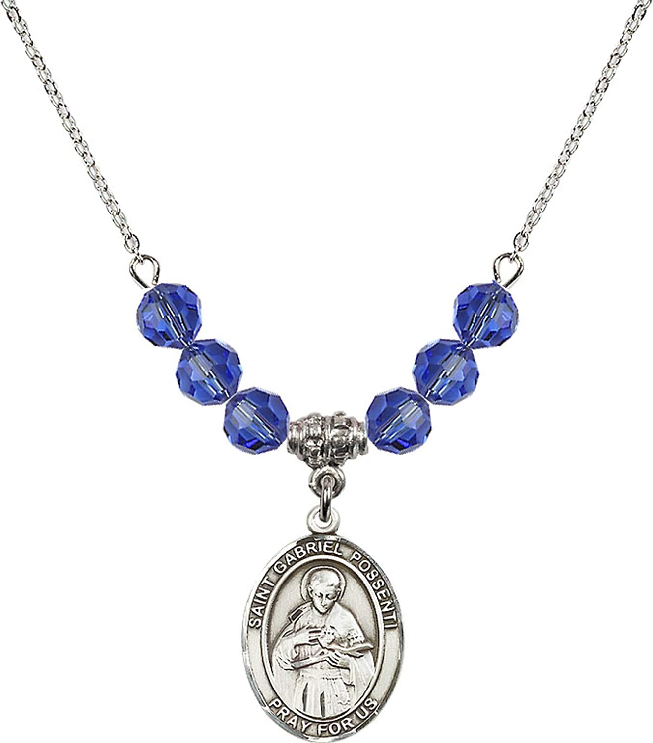 Bonyak Jewelry 18 Inch Rhodium Plated Necklace w// 6mm Blue September Birth Month Stone Beads and Saint Gabriel Possenti Charm