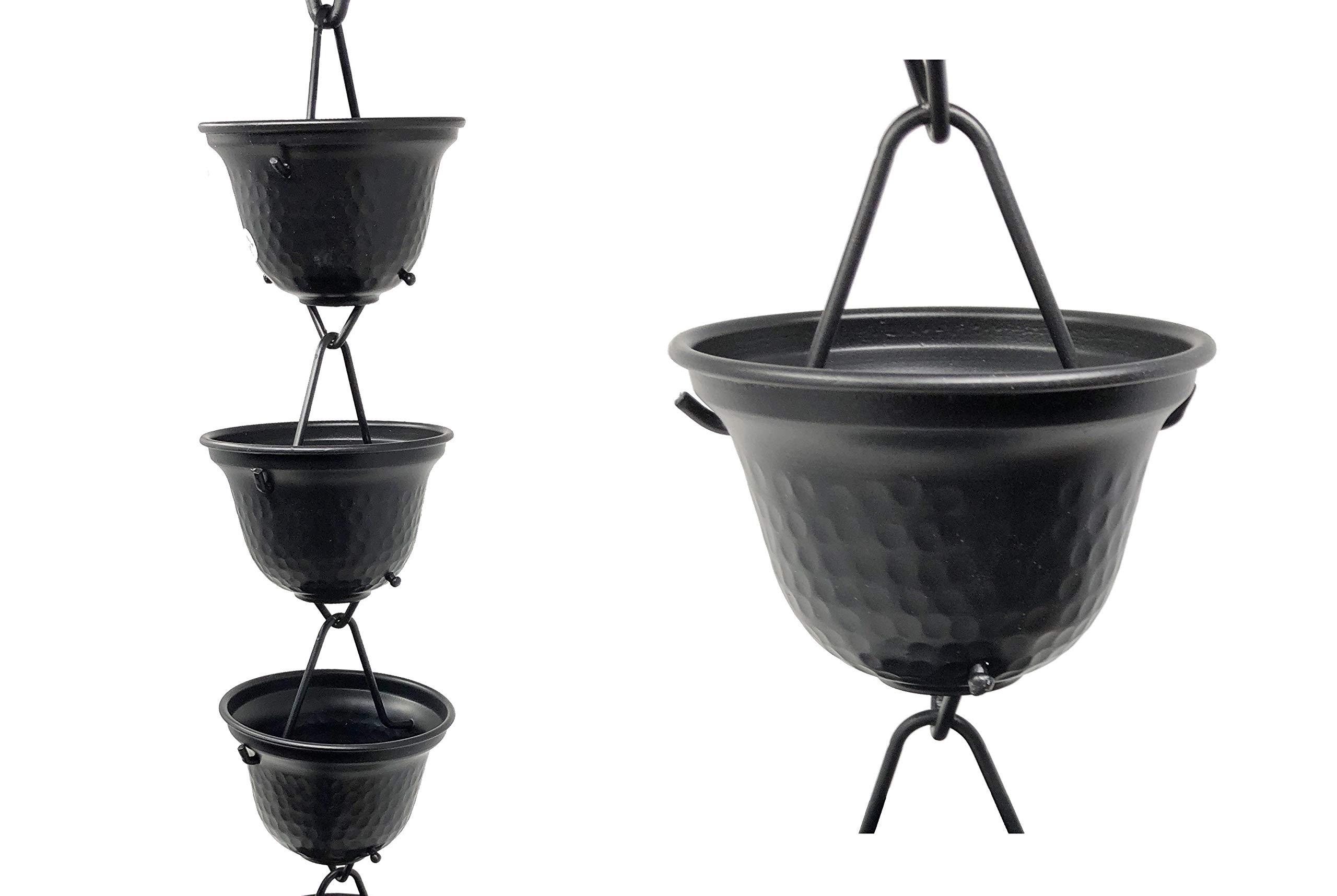 U-nitt 8-1/2 feet Rain Chain for Gutter: Tealight Cup Aluminum Length: 8.5 feet #3124BLK