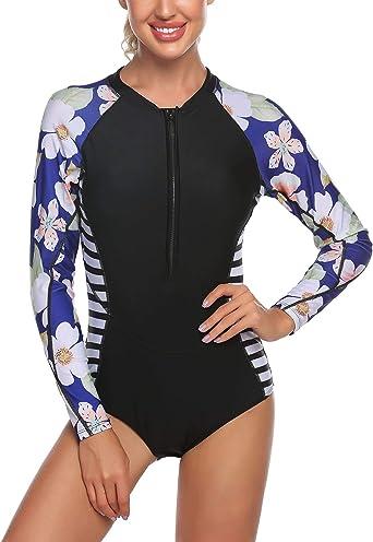 Ekouaer Womens Long Sleeve Rashguard Swim Shirt UV Athletic Printing Tops