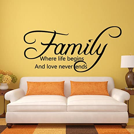 Amazon.com: Family Life Begins Love Never Ends - Home Family Wall ...