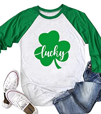 7b2537e4b Amazon.com: Women Green Lucky Shamrock 3/4 Sleeve ST. Patrick's Day T-Shirt  Graphic Tops: Clothing