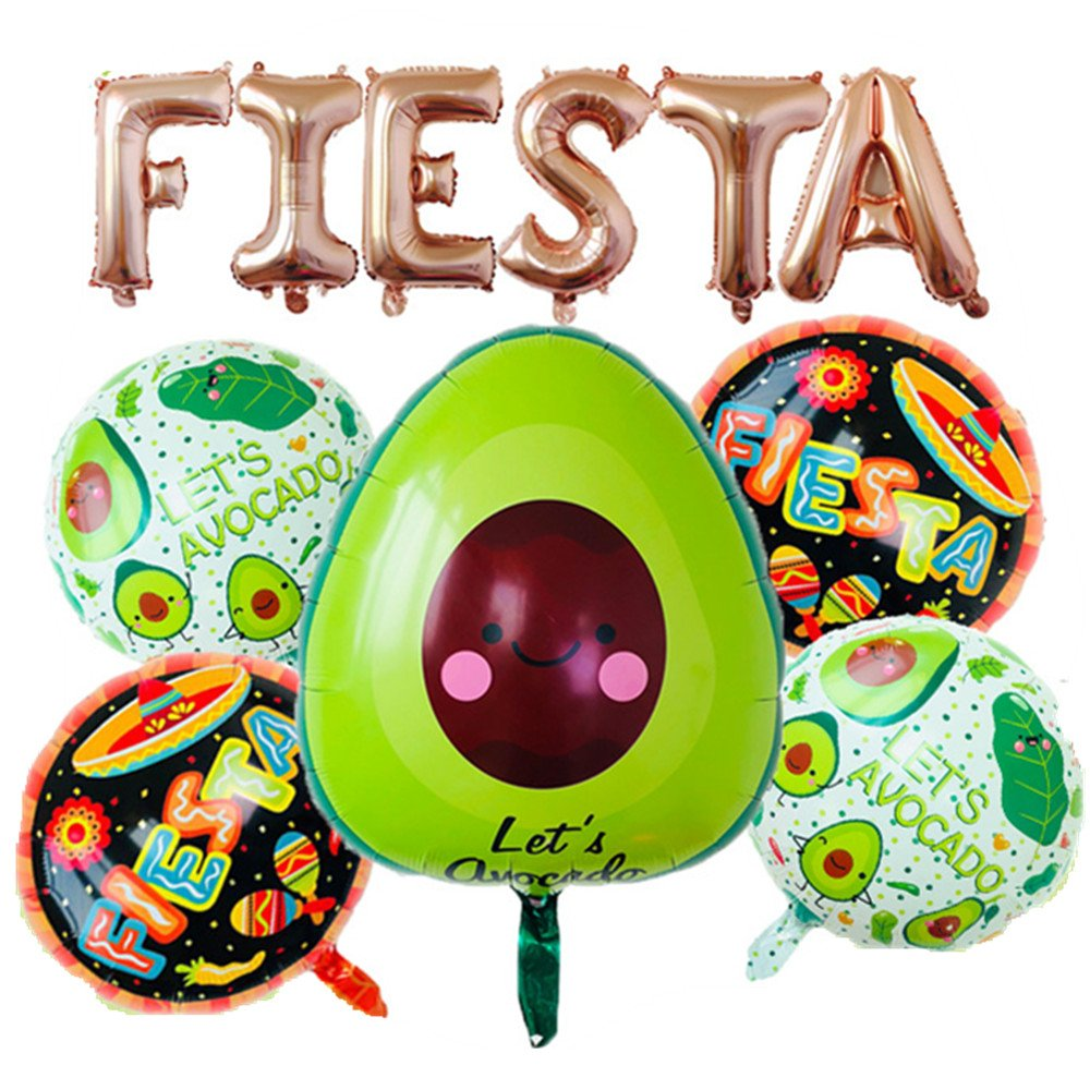 Rose&Wood Fiesta Foil Letter Balloons With 5 Pcs Avocado Fiesta Balloons For Cinco De Mayo Party, Taco Party, Fiesta Bachelorette Party,16'', Rose Gold