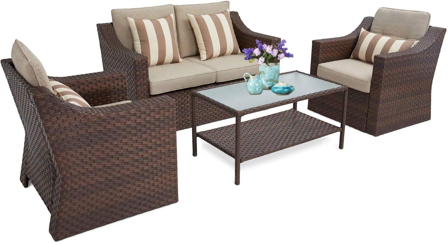 Incbruce 4Pcs Outdoor Patio Sofa Set PE Rattan Wicker Conversation Set with Sophisticated Glass Coffee Table and Soft Cushions (Brown)
