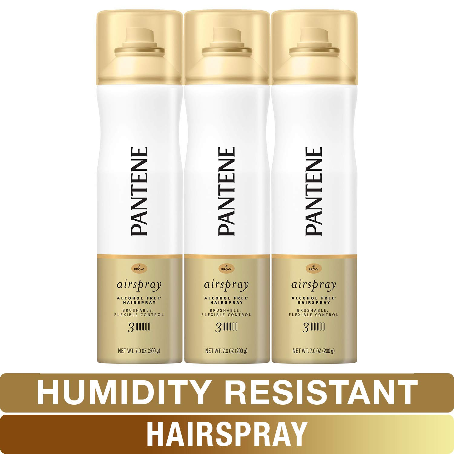 Pantene Hairspray, Smooth & Soft Finish, Pro-V Level 3 Airspray, Humidity Resistant, 7 Oz, Pack of 3 by Pantene