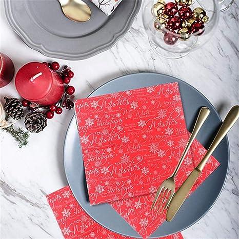 Bloomma 20PCS Navidad papel impreso servilletas Cocktail decoración toalla de papel