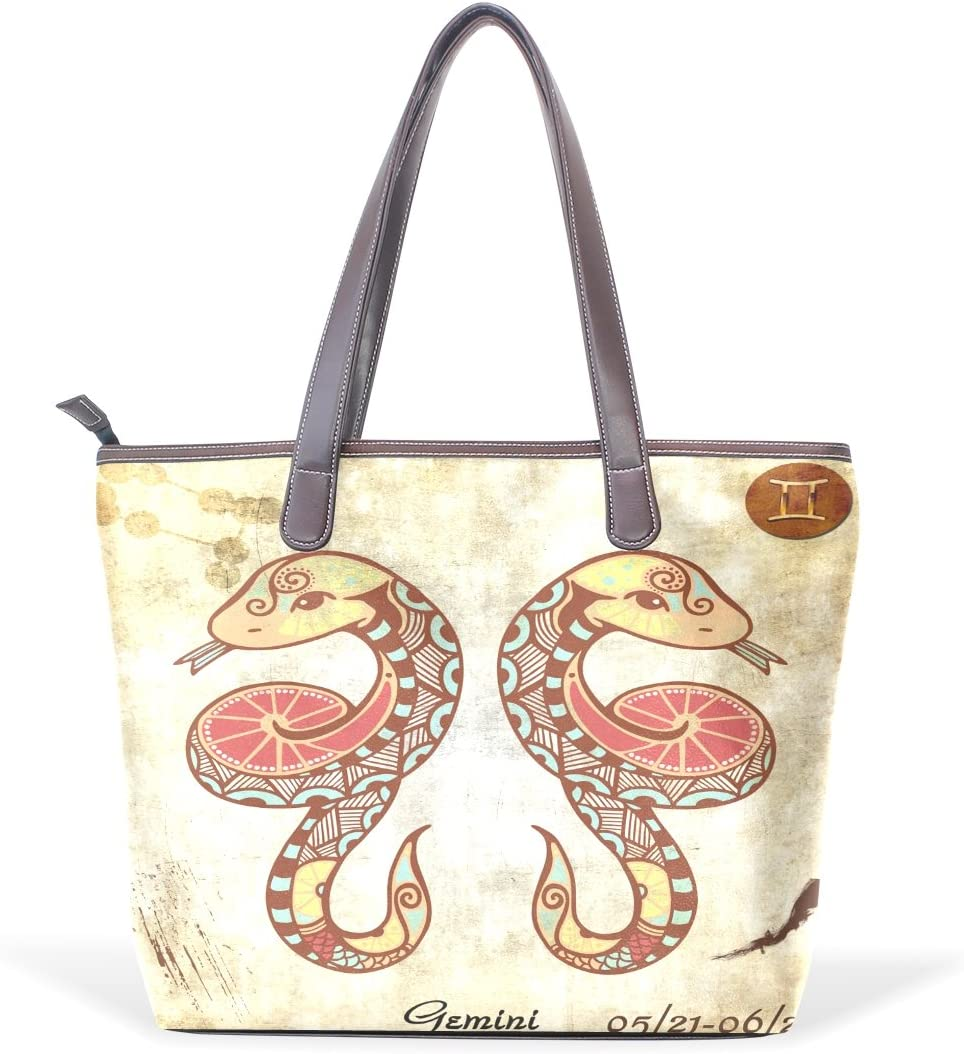 Constellation Zodiac Sign Gemini Womens Fashion Large Tote Ladies Handbag Shoulder Bag