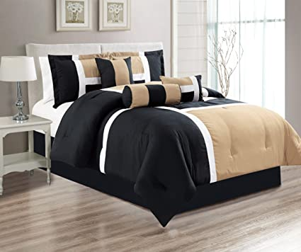 7 Piece Oversize TAUPE / BLACK / WHITE Color Block Comforter Set 94u0026quot; X  90u0026quot