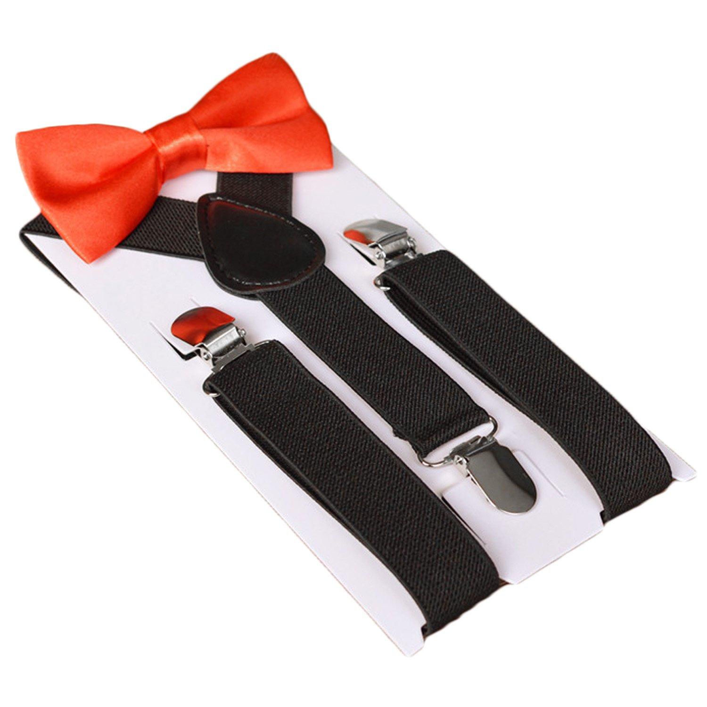 unisex kid girl boy elastic suspenders bowtie bow tie set birthday