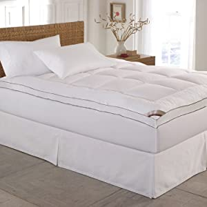 Blue Ridge Home Fashions 2'' Thick Cotton Fiber Mattress Pad (Topper) - with 16'' Stretchable Pocket, Twin, White