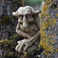 Coward Gargoyle Statue,Squatting Garden Sculpture,Gothic Gnomes Garden Decoration,Outdoor Patio Flower Pot Lawn Decor…