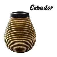 Miel en céramique   Yerba Mate tasse avec des rayures   Facile à nettoyer   Cebador