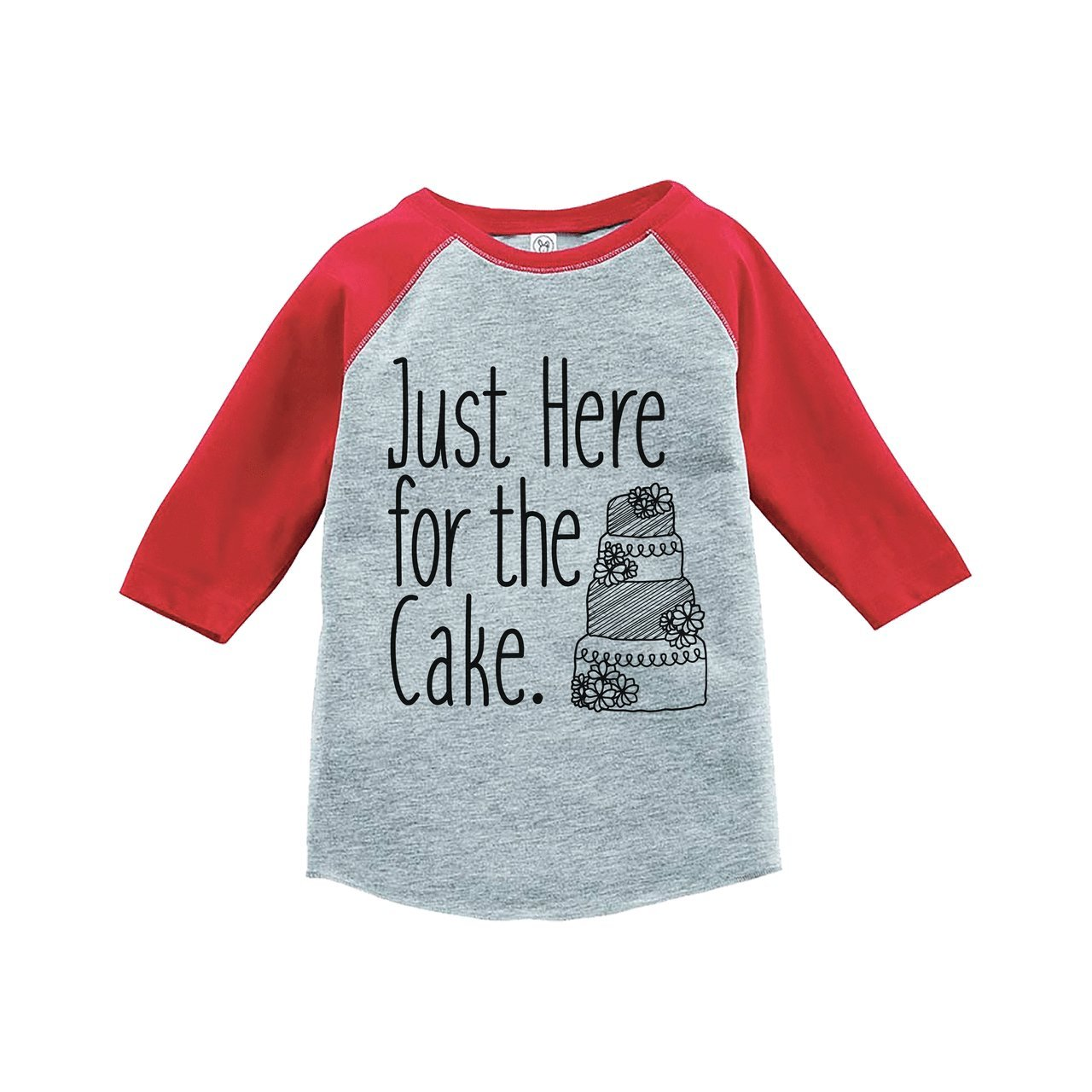 Custom Party Shop Girl's Here For The Cake Wedding Red Raglan XL