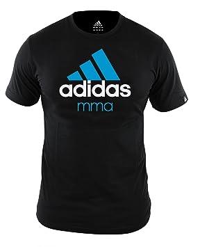 Adidas Camiseta de la comunidad de MMA negro Adidas Comunidad camiseta MMA negro con blanco-azul Imprimir S - XXL: Amazon.es: Deportes y aire libre