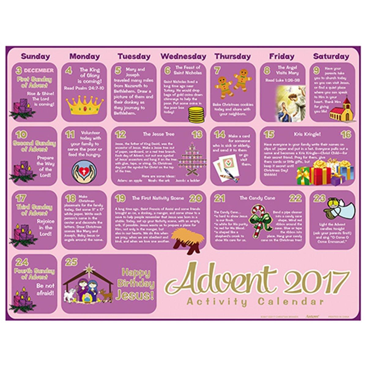 2017 Children's Activity Christmas Advent Calendar, Pack of 100