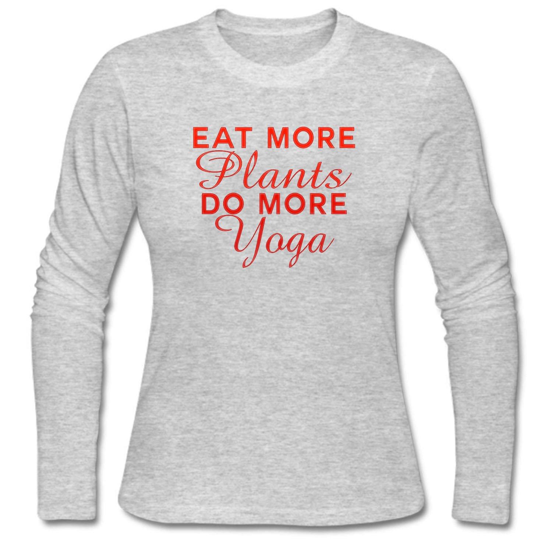 WJINX Womens Long Sleeve Casual T-Shirts Eat More Plants do ...
