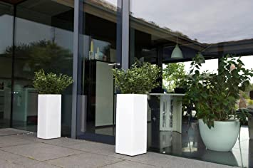 White Modern Garden Planters. Tall White Square Weatherproof Planters In 3  Sizes Large