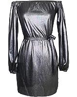 YUNY Women Off Shoulder Belted Long Sleeve Bodycon Clubwear Dress