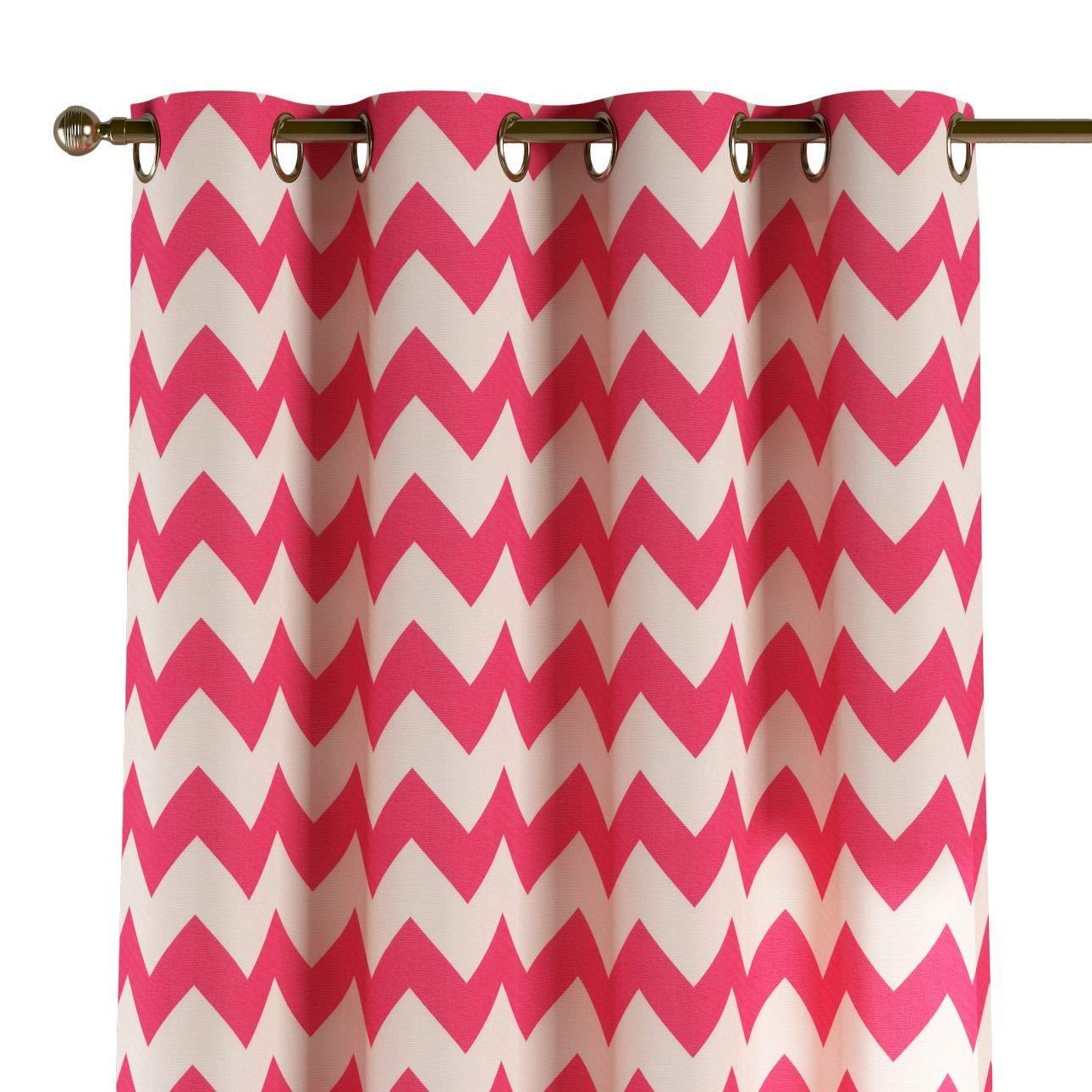 Dekoria Ösenschal Dekoschal Blickdicht 1 Stck. 130 × 260 cm weiß-rosa Maßanfertigung möglich