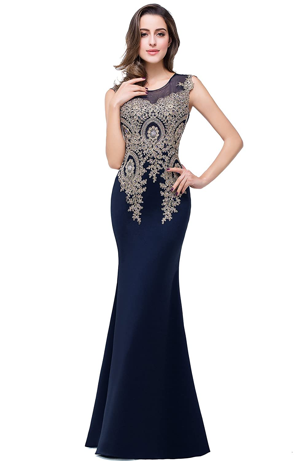 0311592996 Decoration with golden lace applique and beads. Zipper Side closure.  Mermaid Beaded evening Dress Black lace formal dress Sexy party dress