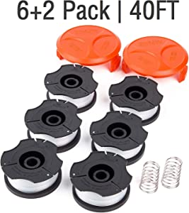 """GARDENOK Line String Trimmer Replacement Spool [ Compatible with Black & Decker AF-100 / Replacement Autofeed Spool ], 40ft 0.065"""", 8-Pack or 14-Pack Optional (8-Pack)"""