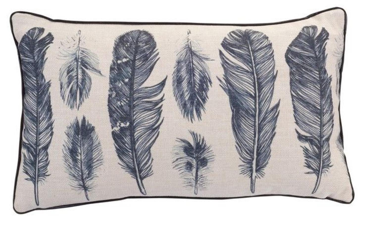 "Pack of 4 Cream and Gray Feather Design Decorative Throw Pillows 18.5""L x 10""H by Melrose"