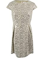 Calvin Klein Womens Sequin Fit & Flare Dress