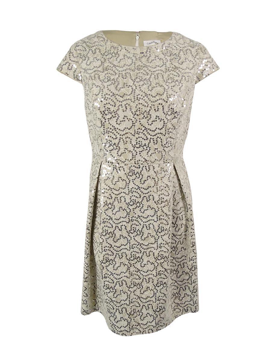 Calvin Klein Plus Size Sequined Flare Dress Cream 16W