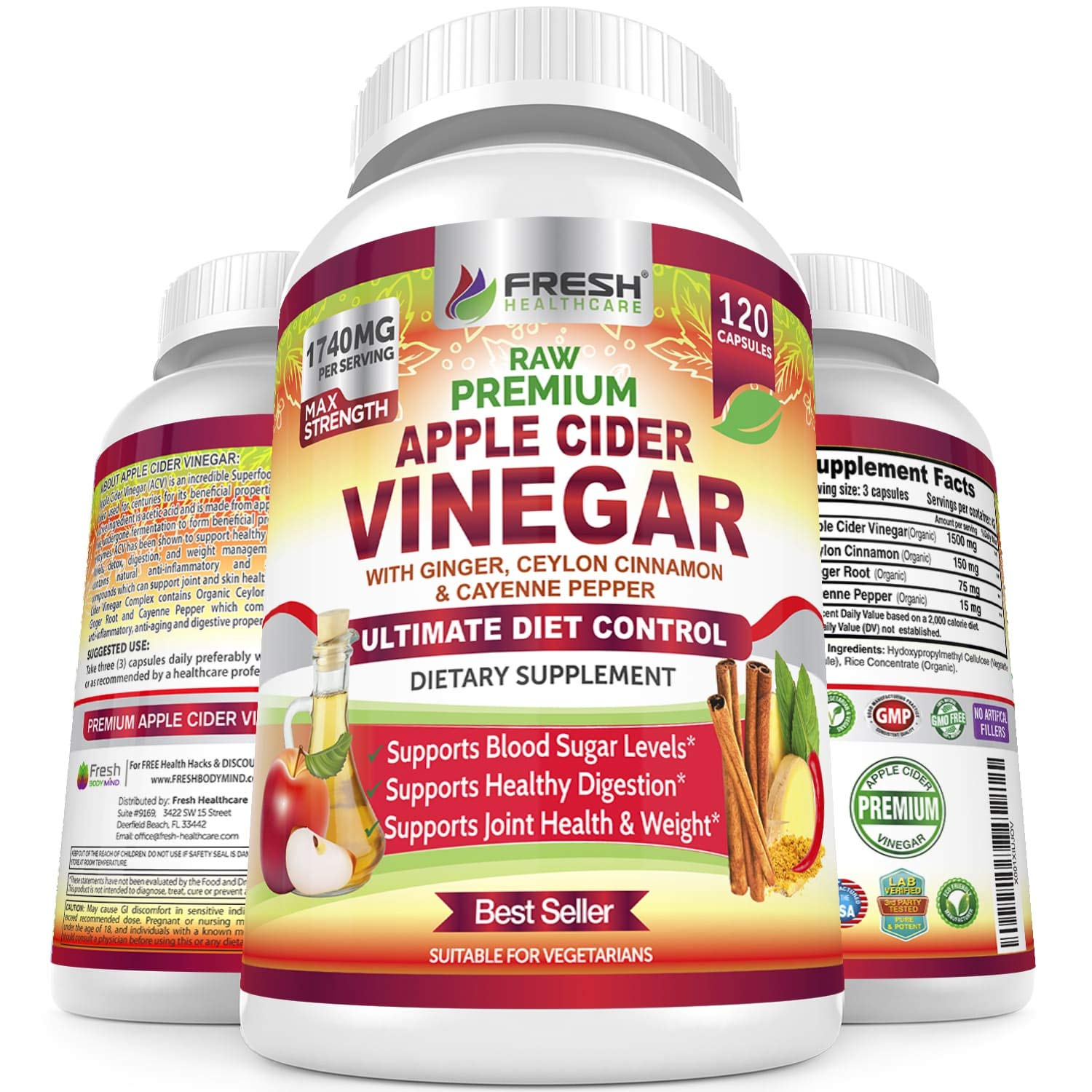 Organic Apple Cider Vinegar Pills Max 1740mg with Mother - 100% Natural & Raw with Ceylon Cinnamon, Ginger & Cayenne Pepper - Ideal for Healthy Blood Sugar, Detox & Digestion-120 Vegan Capsules