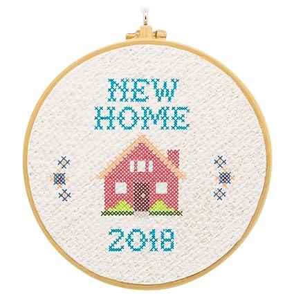9ba7f8b49be3f Amazon.com  Hallmark New Home Cross Stitch Hoop 2018 Ornament Milestones   Home   Kitchen