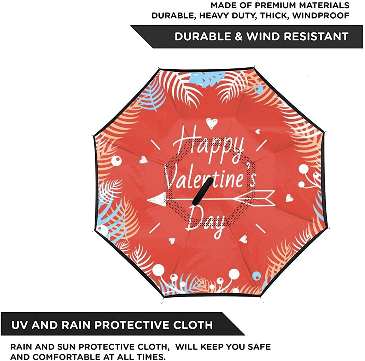 Happy Valentines Day Design Elements Reverse Umbrella Double Layer Inverted Umbrellas For Car Rain Outdoor With C-Shaped Handle Personalized