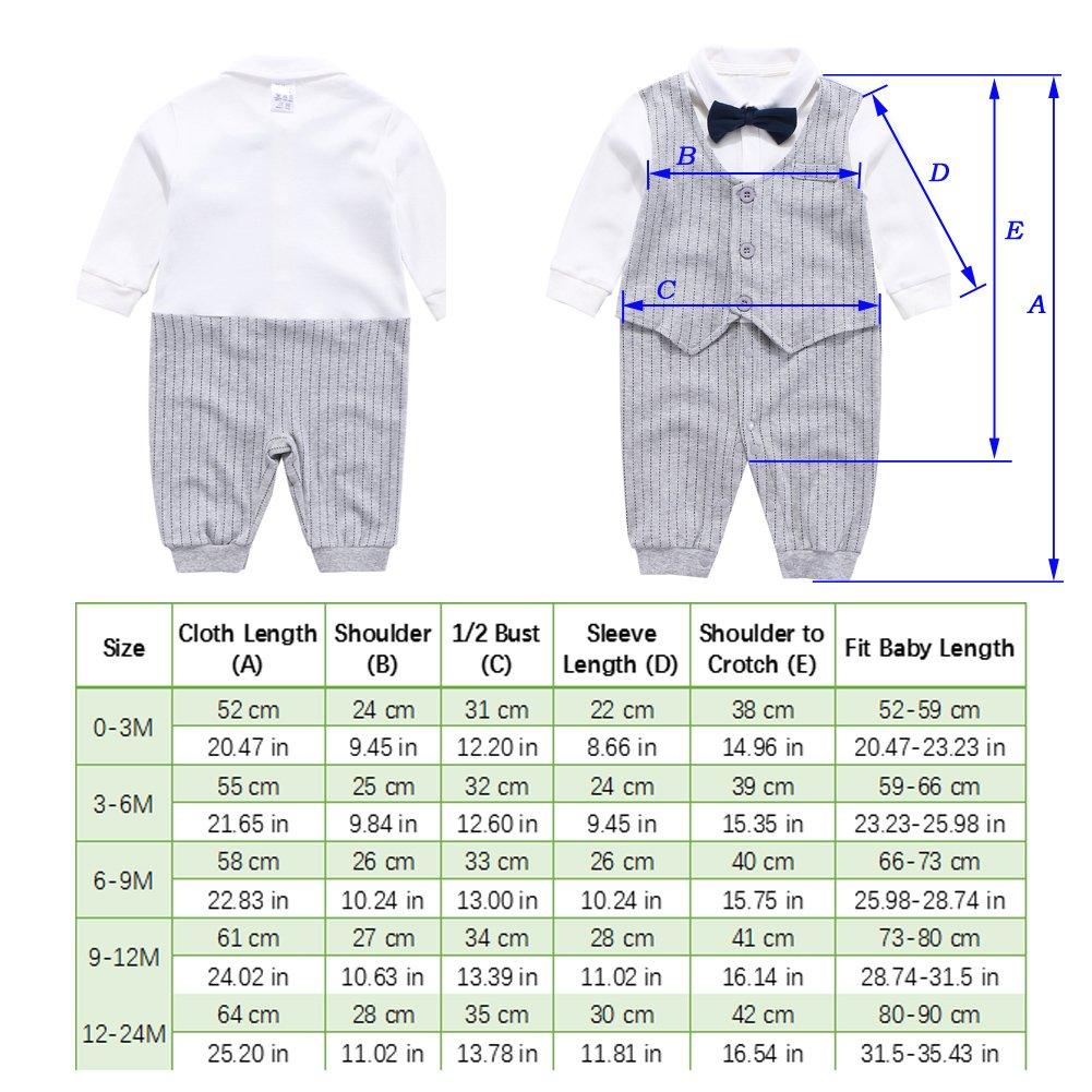 Fairy Baby Baby Outfits Langarm Strampler Jungen Smoking Baby Baumwolle Gentleman Outfit Bowknot Weihnachts//Taufstrampler Kleidung 6-9 Monate 73 Grau Streifen