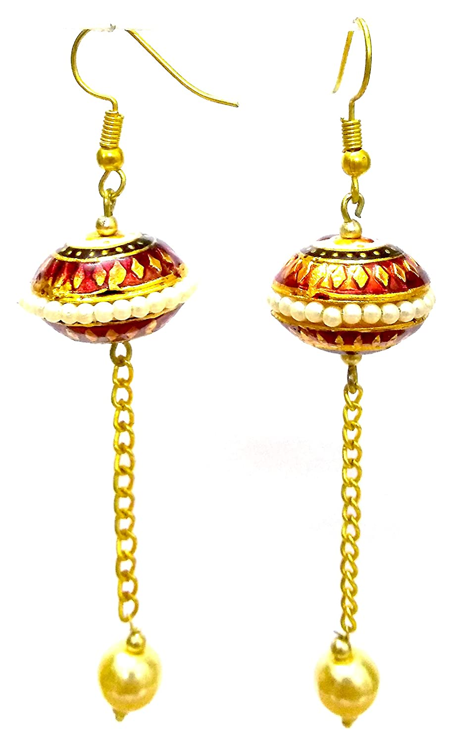 DESI HAWKER Meenakari Minakari Hand Painted Made Earring Bali Jhumki Jhumka Jewelry Drop Dangle Chandelier Long Chain NI-291
