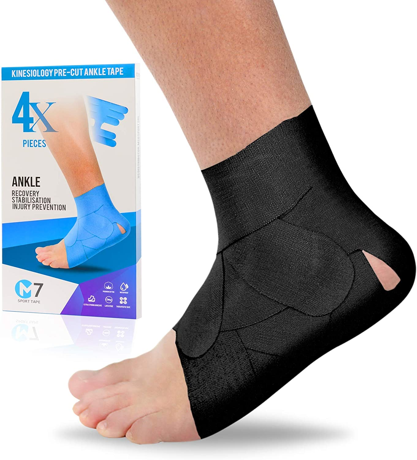 M7 Sport Kinesiology Ankle Tape for Ankle Sprain and Injury Recovery,Pain Relief Kinesiology Tape, Ankle Brace Compression Support, Plantar Fasciitis, Waterproof, Eases Swelling (Black, 4-Pack)