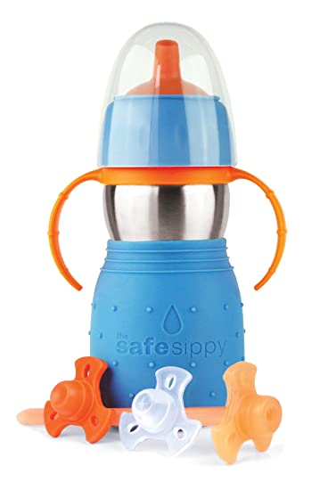 Kid Basix by New Wave Safe Sippy 2-Baby & Toddler Stainless Steel Cup with  Straw