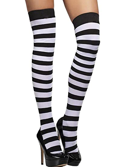 6ed09685a Amazon.com: Sexy Classic Striped Nylon Stocking Thigh Highs Hosiery:  Clothing