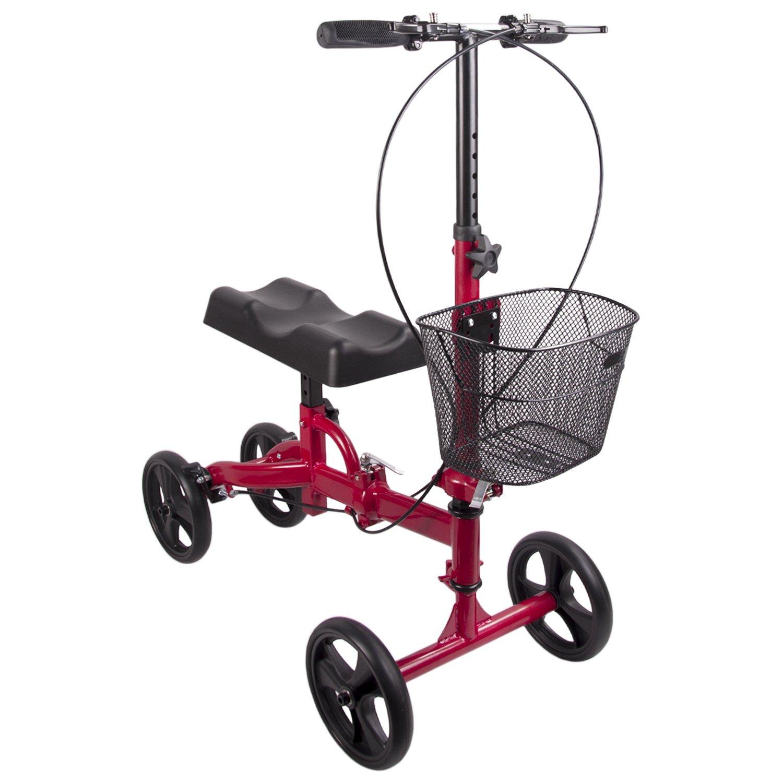 Elevens Knee Roller Walker Crutch Alternative Steerable Knee Scooter with Basket (Red)
