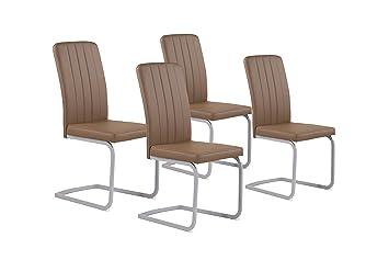 CAVADORE Stuhl Set Svea / 4 Esszimmer Stühle Ohne Armlehne In Edlem  Design/Lederimitat /