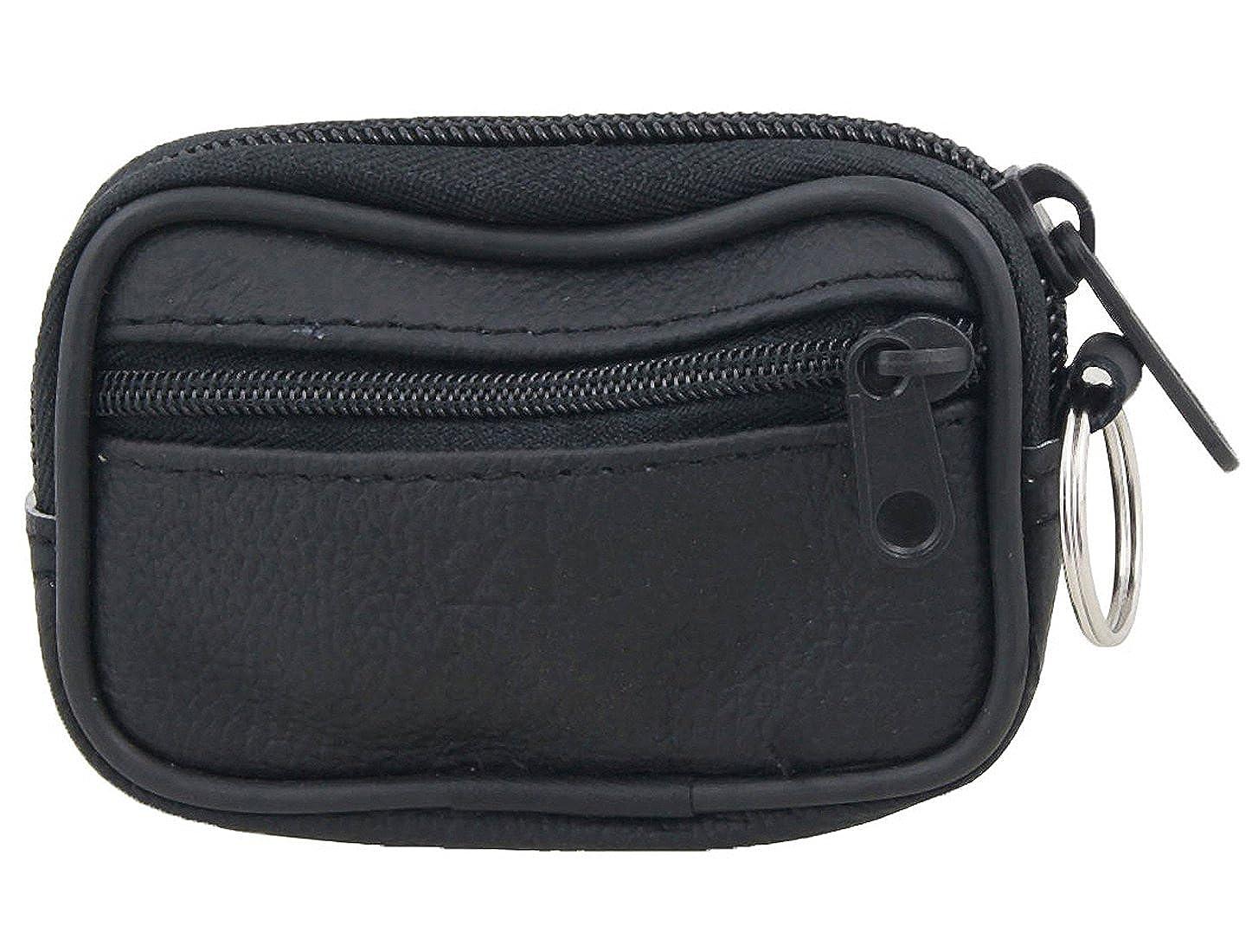 Sourcingmap Faux cuir noir 2 poche-clé Bourse de sac porte-monnaie zippé a10111500ux0037