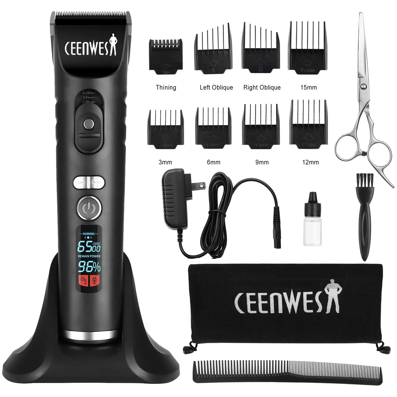 Ceenwes Professional Hair Trimmer Cordless Hair Clippers Rechargeable Beard Trimmer Electric LED Display Haircut Kit for Men and Family Use with Charging Dock, Guide Combs, Scissors, Comb