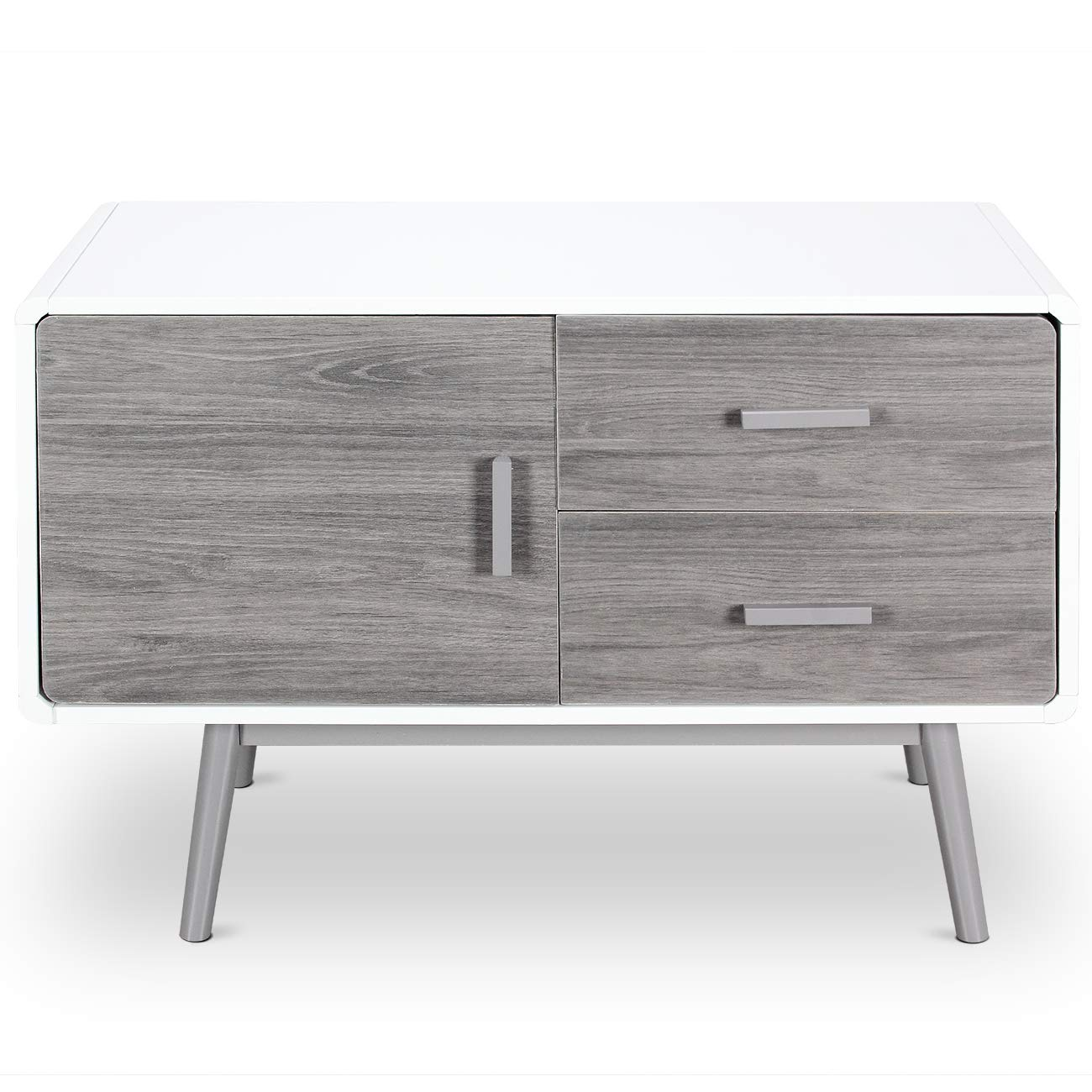 BELLEZE Contemporary Sideboard Buffet Table Cabinet with Wood Storage Console Table 2 Drawers & 1 Cabinet White by Belleze (Image #2)