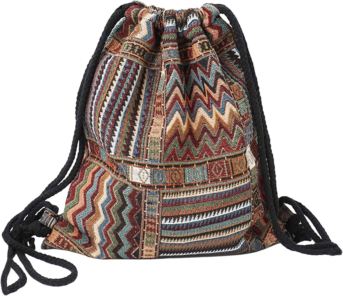 Ochre Floral Cotton Drawstring Backpack