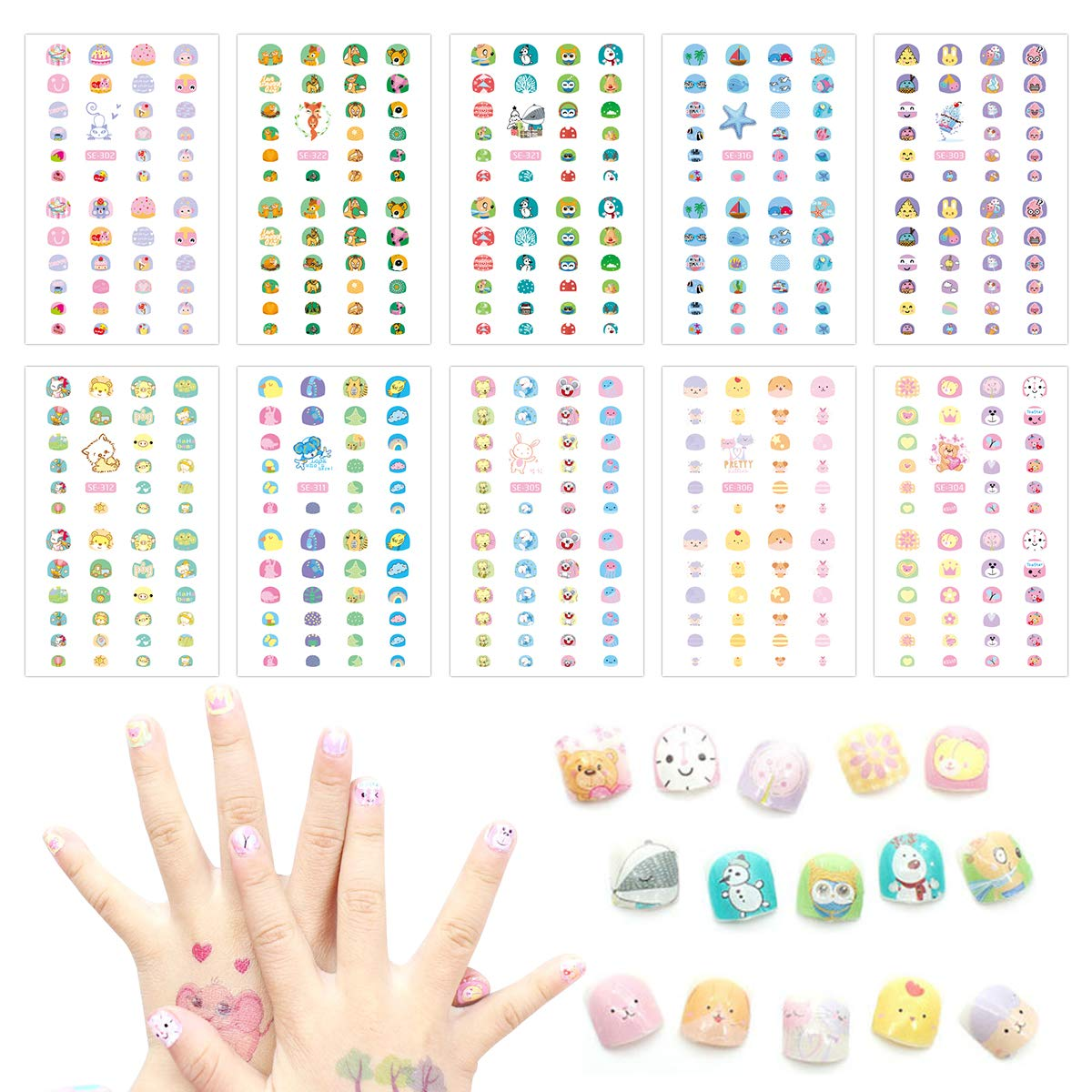 Cieovo 10 Sheet Kids Nail Stickers for Little Girl Nail Art Self-adhesive Decals Party Favor Pretend Play Princess Jewelry Decoration by CIEOVO