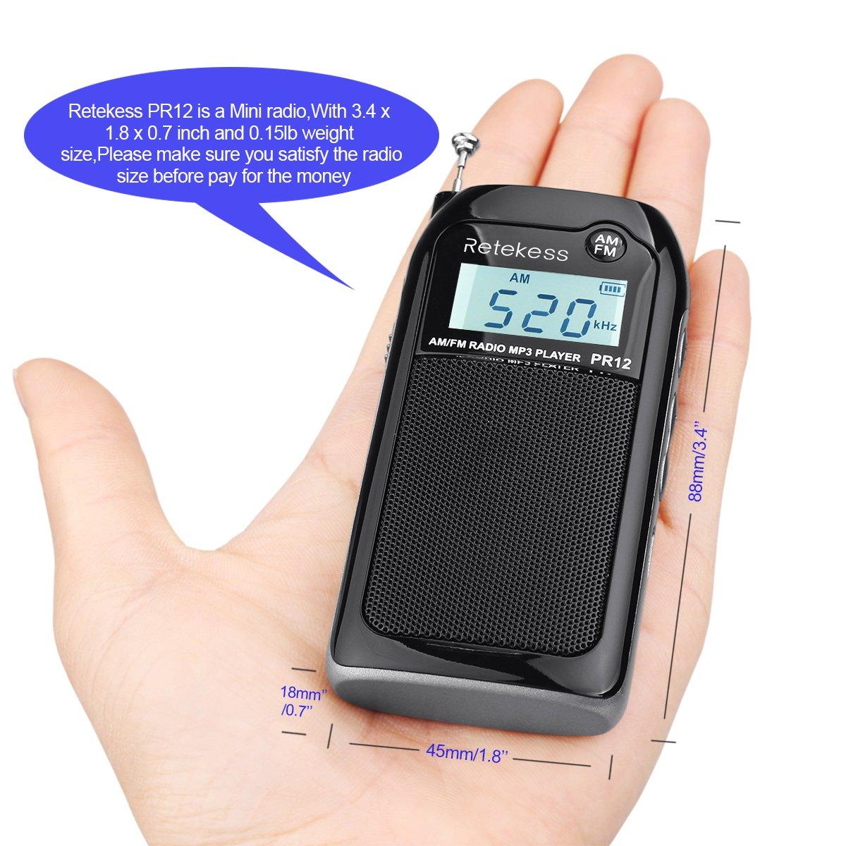 Retekess PR12 Pocket AM FM Radio Transistor DSP Digital