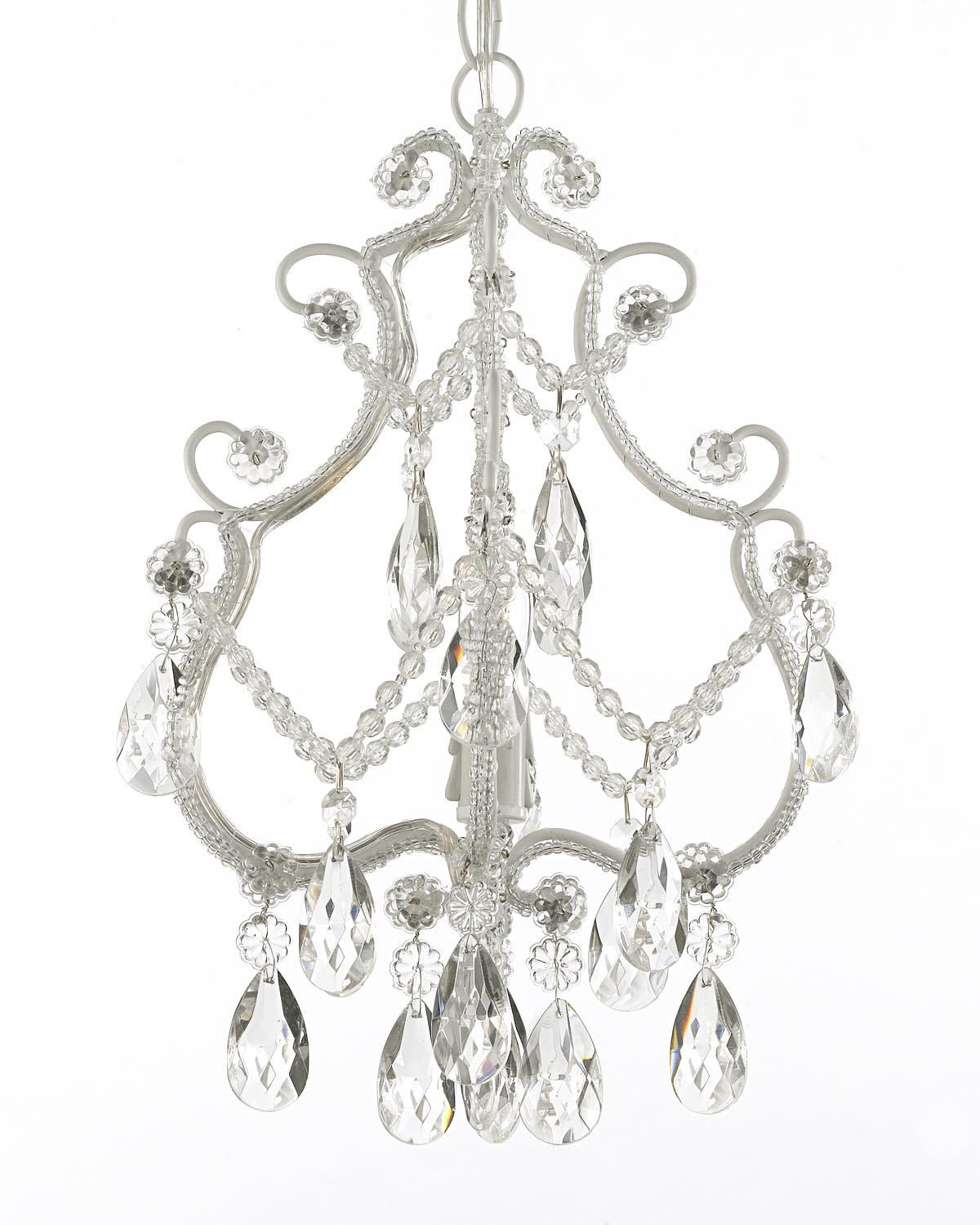 Wrought iron and crystal 1 light chandelier pendant white fixture wrought iron and crystal 1 light chandelier pendant white fixture lighting ceiling lamp hardwire and plug in amazon arubaitofo Image collections
