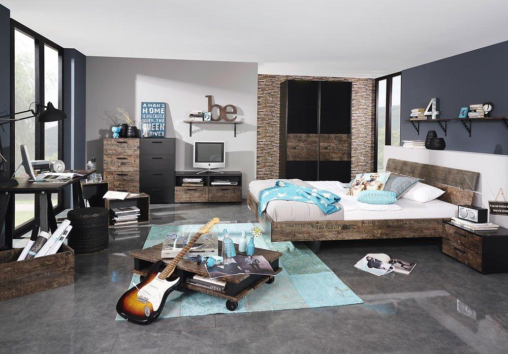 Schlafzimmer in Schwarz/Vintage-Optik braun, Schwebetürenschrank ca. 136/223/69 cm, Bett 140 x 200 cm, Schreibtisch ca. 140/74/65 cm